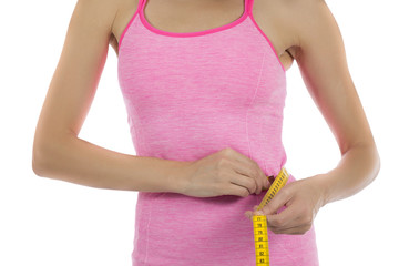 Woman weight loss measuring