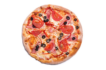Tasty Italian pizza with ham, tomatoes, and olives