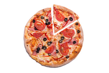 Tasty pizza with ham and tomatoes with a slice removed