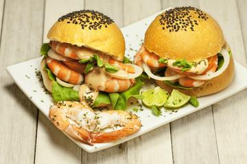 Delicious shrimp burgers