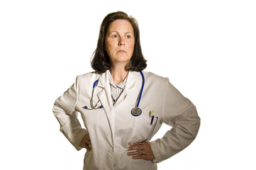 Woman Doctor With Hands On Hips