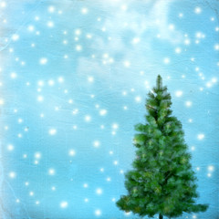Christmas tree on abstract green vintage background