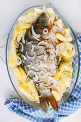 Pickled carp with potatoes