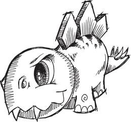 Stegosaurus Dinosaur Sketch Vector Illustration Art