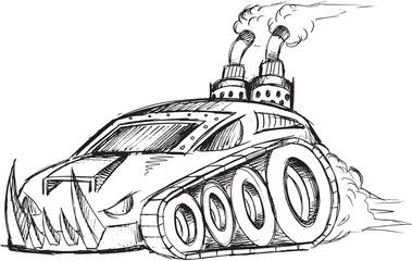 Armored Car Tank Vector Sketch Illustration Art