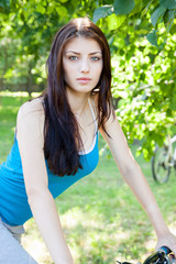 woman on a bicycle, portrait