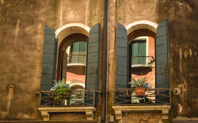 Window of typical old Venice building ,Italy.