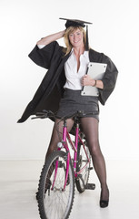 Mature University student with laptop and bicycle