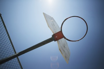 Silhouetted Basketball Hoop