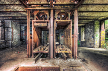 Disused lift shaft in an abandoned coal mine