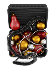 top view of black basket with christmas decorations isolated on