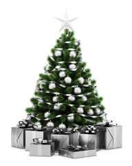 decorated christmas tree with gift boxes isolated on white backg