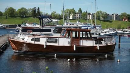Vintage boat is moored