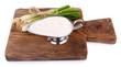 Metal cream bowl with onion