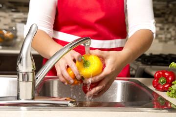 washing vegetables