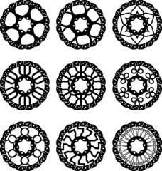 Vector bike brake disc silhouettes