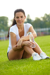 Young woman do sport