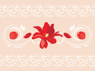 Seamless ornamental border with red flower and petals