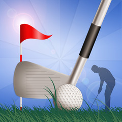 illustration of a golf club with ball