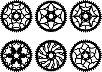 Vector pack of bike chainrings and rear sprocket