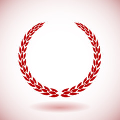 Red vector laurel wreath on white background.