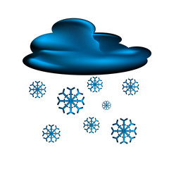 Cloud and snowflakes vector icon