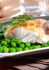 Delicious seafood meal of grilled fish