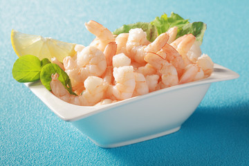 Grilled shelled pink prawns with herbs