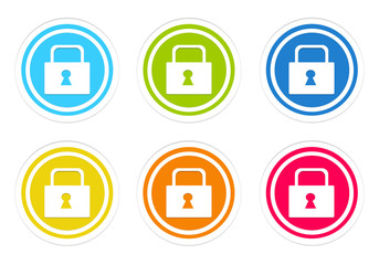 Set of rounded colorful icons with lock symbol