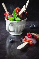 frozen berries on a stick