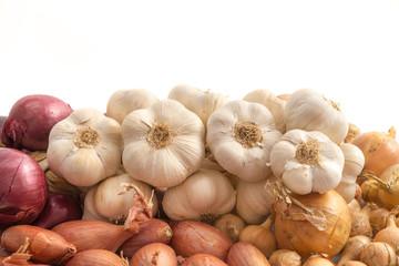 Verschiedene Zwiebeln, Schalotten und Knoblauch