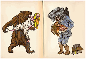 Werewolf and Noon Witch - An hand drawn vector