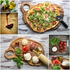 Collage mit  Pizza und Zutaten