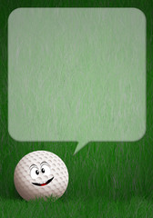 Funny golf ball in the green