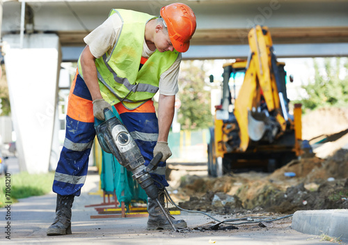 construction worker with perforator - 71061210