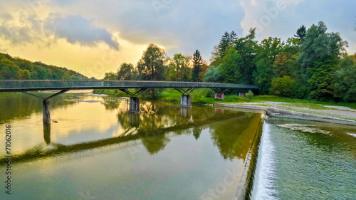canvas print picture Isar Ausblick