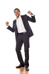 Happy african businessman on a white background