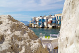 Panoramic view of little Venice on Mykonos Island, Greece - 71063441
