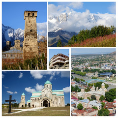 Collage of popular Georgia touristic landmarks, unesco heritage