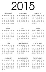 Calendar 2015 Black and White Vector