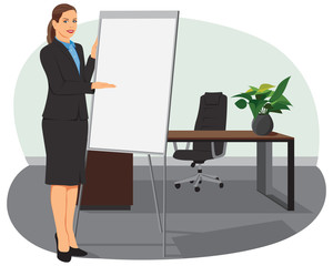 Businesswoman standing next to flip board and pointing hand