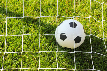 ein Fußball im Netz