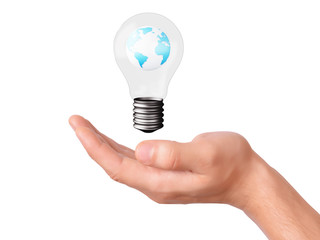 hand holding bulb with earth planet