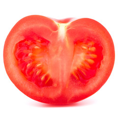 Tomato vegetable half  isolated on white background cutout