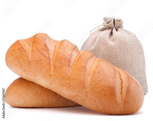 canvas print picture fresh bread and flour sack isolated on white background cutout