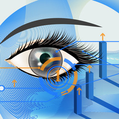 Business vector background with blue eye