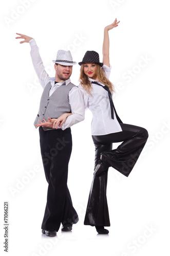 Plexiglas Pair of dancers dancing modern dance isolated on white