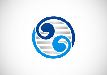 circle yin yang abstract swirl vector logo