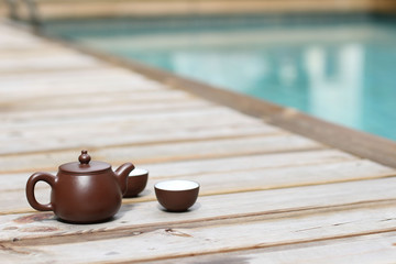 Tea by the swimmimg pool