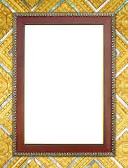 wood frame on Buddha wall